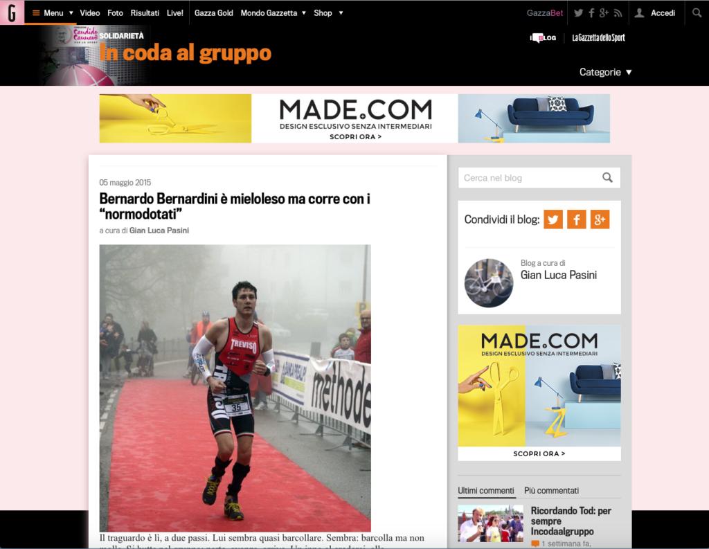 """5 maggio 2015, la gazzetta dello sport on line dal titolo: """"Bernardo Bernardini è mieloleso ma corre con i normo dotati"""". In questo articolo si racconta di come Bernardo Bernardini si impegni nelle competizioni di triathlon assieme ai normo dotati. Nella foto l'atleta trevigiano è ritratto mentre corre verso l'arrivo della gara di Tambre indossando il body da gara della sua squadra, il Treviso Triathlon ASD"""