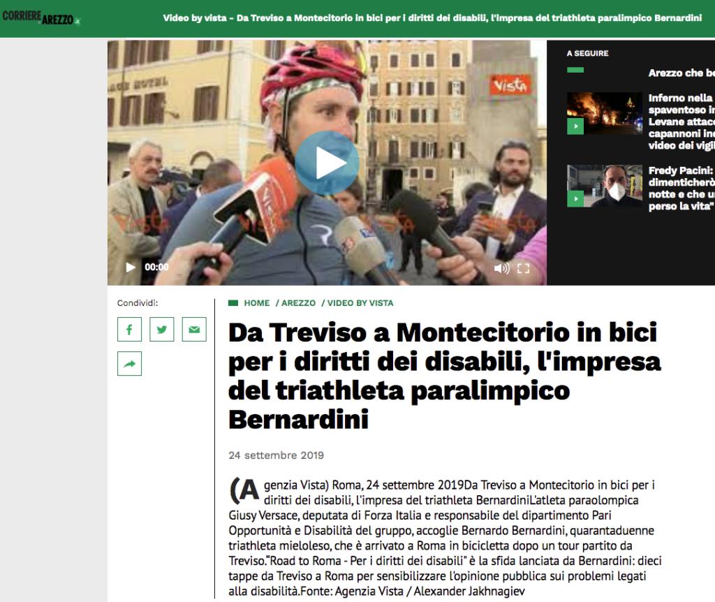 """Il corriere di Arezzo pubblica un articolo con video intervista dal titolo: """"Da Treviso a Montecitorio in bici per i diritti dei disabili, l'impresa del triatleta paralimpico Bernardini""""."""