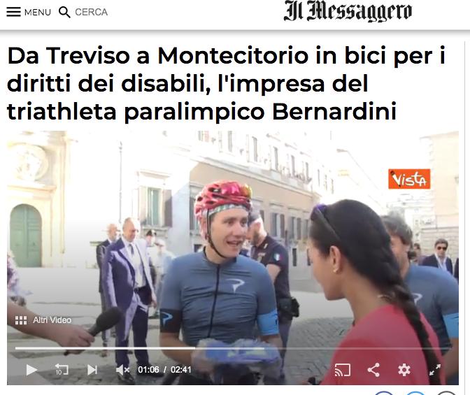 """Il Messaggero pubblica un'intervista a Bernardo dal titolo: """"Da treviso a Montecitorio in bici per i diritti dei disabili, l'impresa del triatleta paralimpico Bernardini""""."""