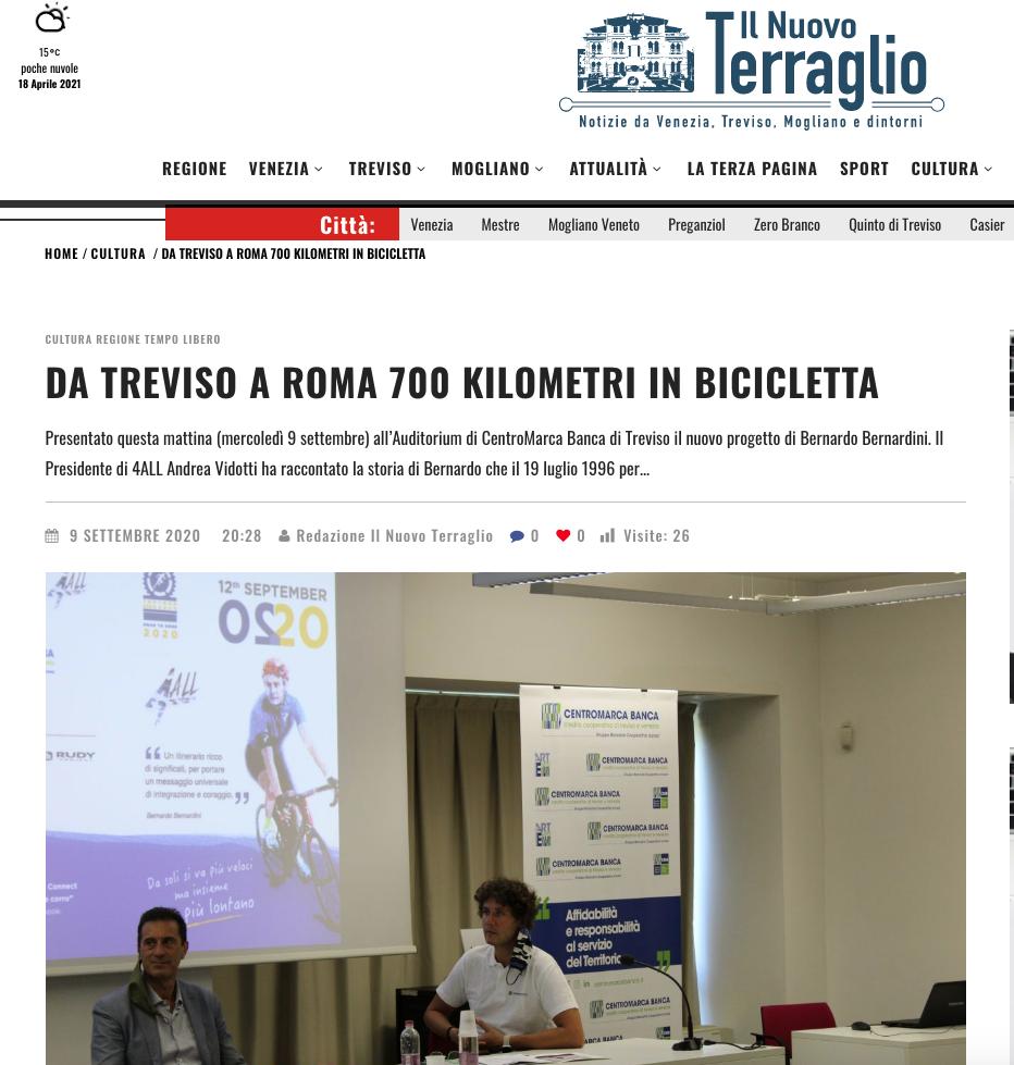 """Il Nuovo Terraglio pubblica una notizia dal titolo: """"da Treviso a Roma 700 chilometri in bicicletta""""."""