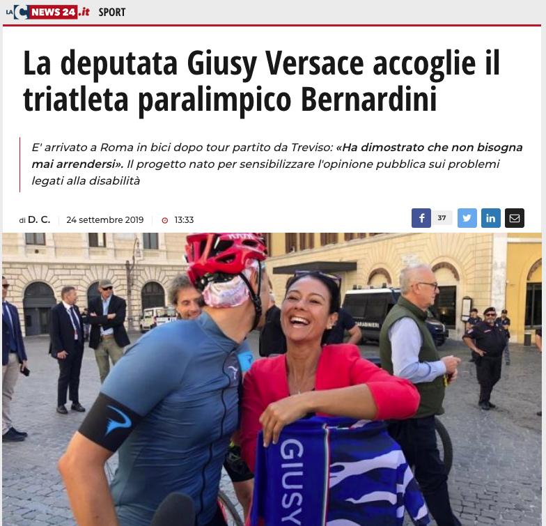"""La C news 24 pubblica un articolo dal titolo: """"la deputata Giusy Versace accoglie il triatleta paralimpico Bernardini""""."""