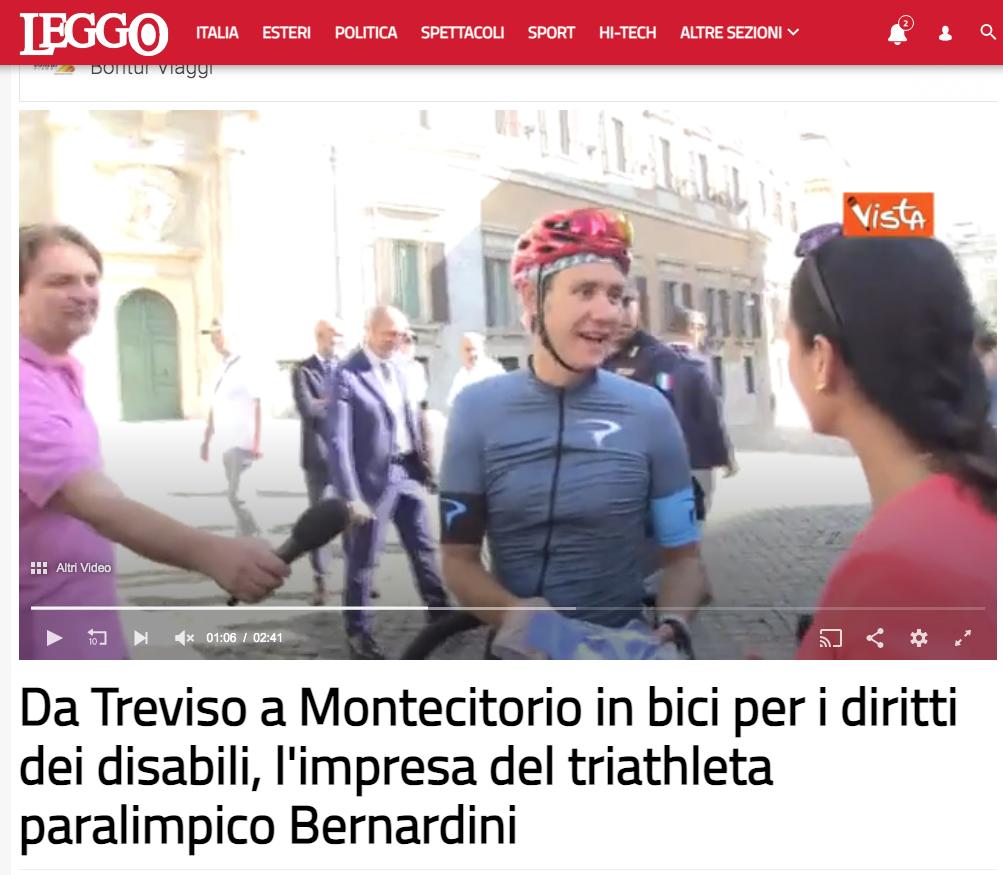"""Leggo pubblica un articolo dal titolo: """"Da Treviso a Montecitorio in bici per i diritti dei disabili, l'impresa del triatleta paralimpico Bernardini""""."""