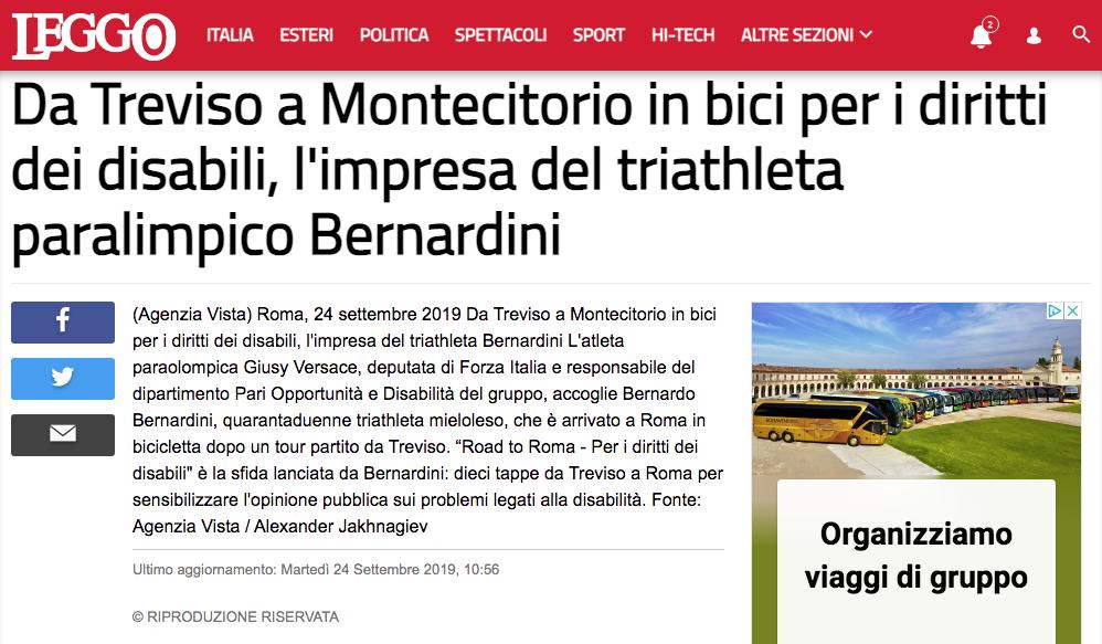 """Leggo pubblica un'intervista a Bernardo dal titolo: """"Da treviso a Montecitorio in bici per i diritti dei disabili, l'impresa del triatleta paralimpico Bernardini""""."""
