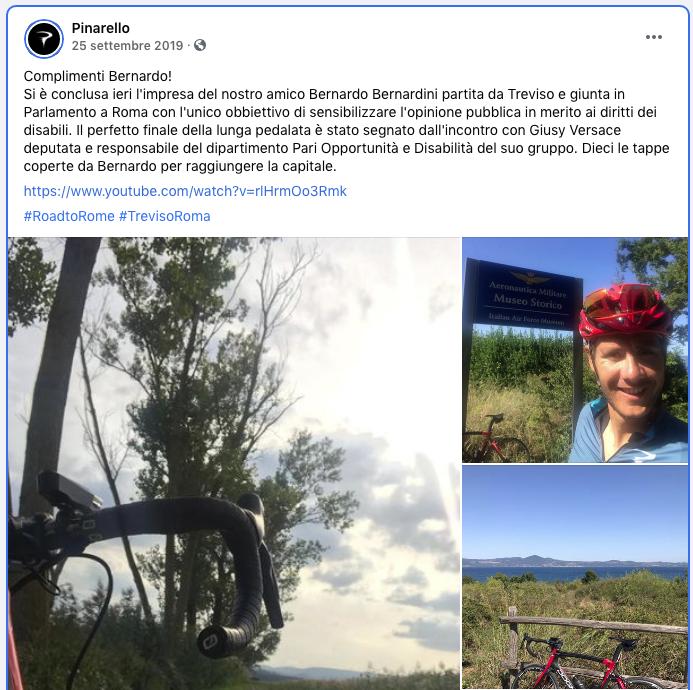 La pagina Facebook ufficiale dell'azienda Pinarello pubblica i complimenti a Bernardo per aver raggiunto Roma con una loro bicicletta