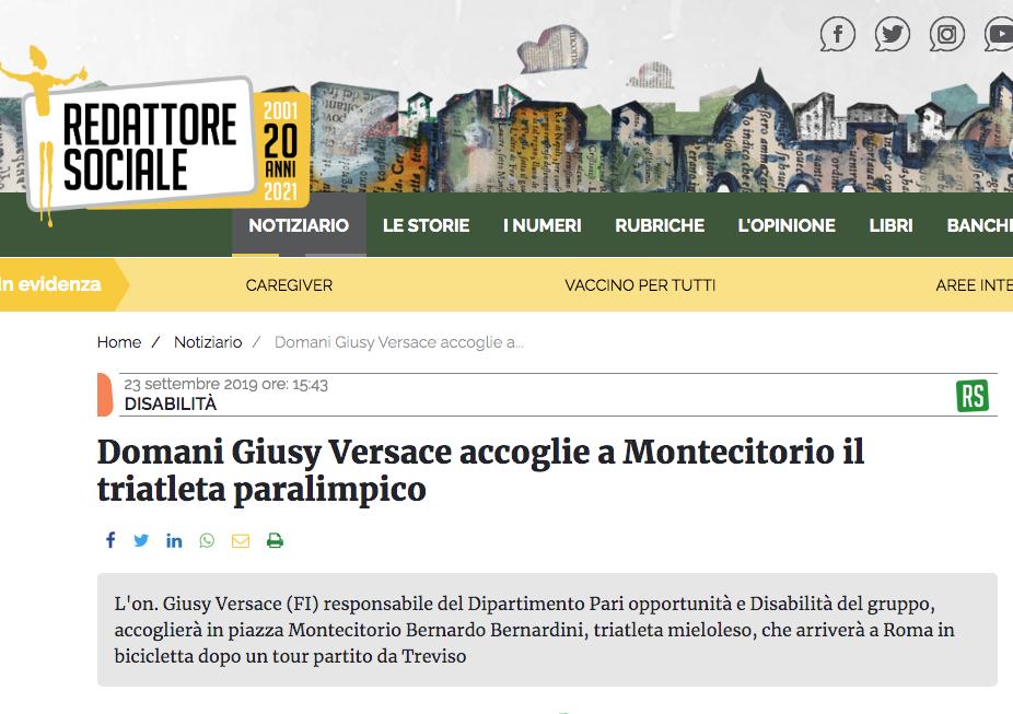 """Redattore Sociale pubblica un articolo dal titolo: """"Domani Giusy Versace accoglie a Montecitorio il triatleta paralimpico"""