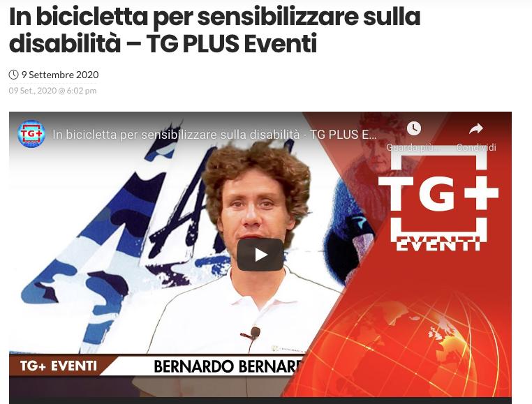 """Il TG Plus Eventi pubblica un'intervista a Bernardo Bernardini dal titolo: """"in bicicletta per sensibilizzare sulla disabilità"""""""