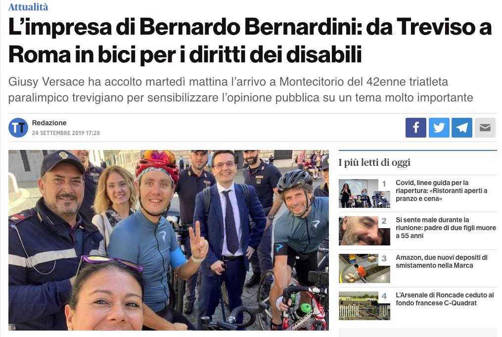 """Treviso Today pubblica un'intervista a Bernardo dal titolo: """"L'impresa di Bernardo Bernardini: da treviso a Roma in bici per i diritti dei disabili""""."""