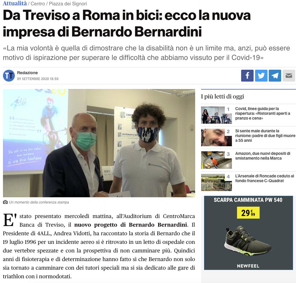 """Treviso Today pubblica un articolo dal titolo: """"Da Treviso a Roma in bici: ecco la nuova impresa di Bernardo Bernardini""""."""