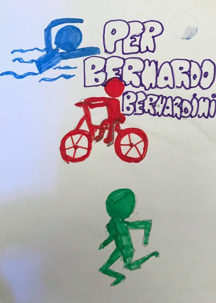 dopo aver raccontato la sua storia in una scuola elementare un bambino dedica un disegno a Bernardo in cui lo ritrae mentre nuota, va in bici e corre