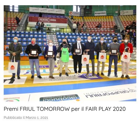 articolo in merito alle premiazioni dell'associazione Friul Tomorrow per il fair play 2020